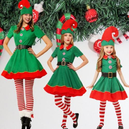 Deluxe Girls Elf Costume Santas Little Helper Christmas Fancy Dress Outfit Party