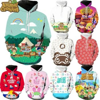 全新卡通游戏 Animal Crossing 时尚 3d 印花帽衫中性套头- 显示原刊登标题