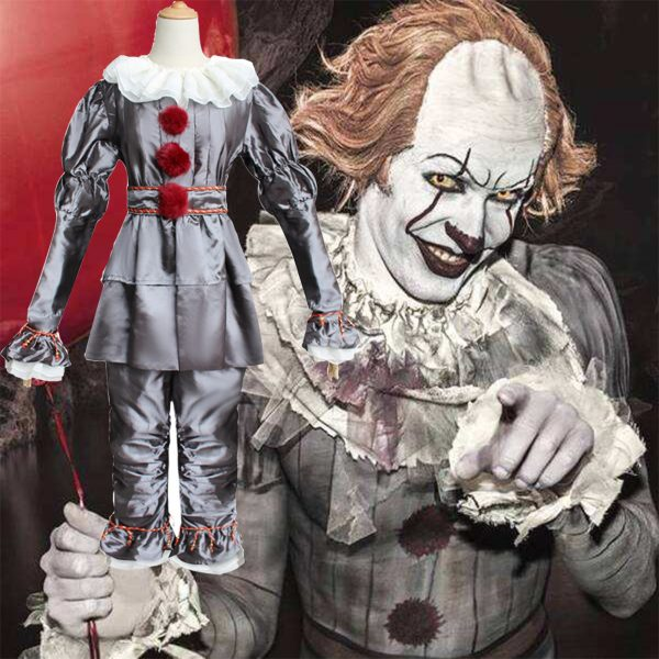 Movie It: Chapter Two Pennywise Cosplay Costume Clown Halloween Costumes Mask Adult Kids