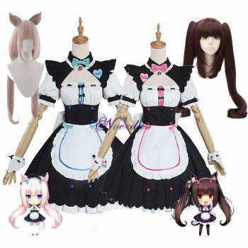 Anime Chocola NEKOPARA Cosplay Chocola Vanilla Maid Dress Costume Cat Neko Girl NEKOPARA Cosplay Women Costume Wig Game