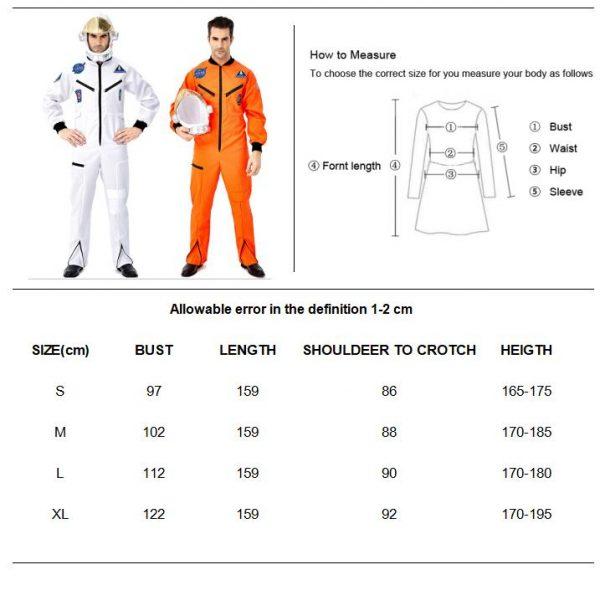 Halloween Men Deluxe Spaceman Pilot Astronaut Outfit Costume Cosmonaut Jumpsuit Space Flight Cosplay Fancy Dress