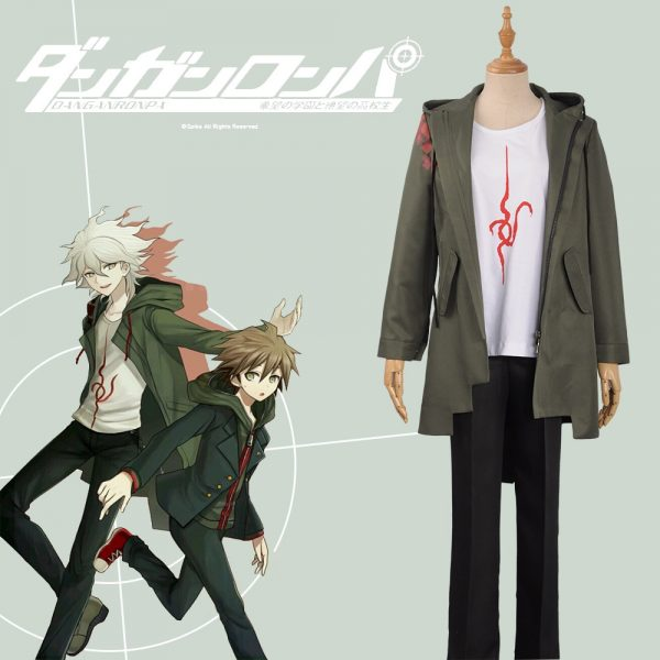 Anime Super Danganronpa 2 Nagito Komaeda Nagito Cosplay Costume Adult Hoodies Army Green Zipper Jacket T-Shirt Pants Halloween