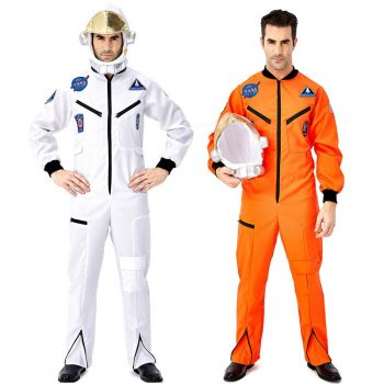 Halloween Men Deluxe Spaceman Pilot Astronaut Outfit Costume Cosmonaut Jumpsuit Space Flight Cosplay Fancy Dress
